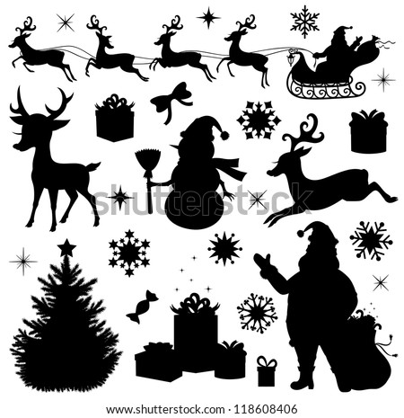 Collection of a christmas silhouettes. - stock vector