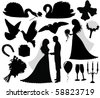 Collection of a wedding silhouettes. - stock vector