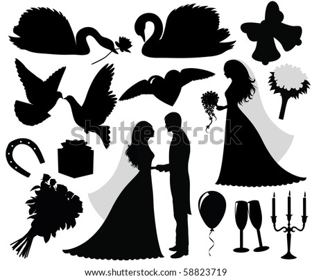 Collection wedding silhouettes stock vector 58823719 shutterstock collection of a wedding silhouettes junglespirit Choice Image