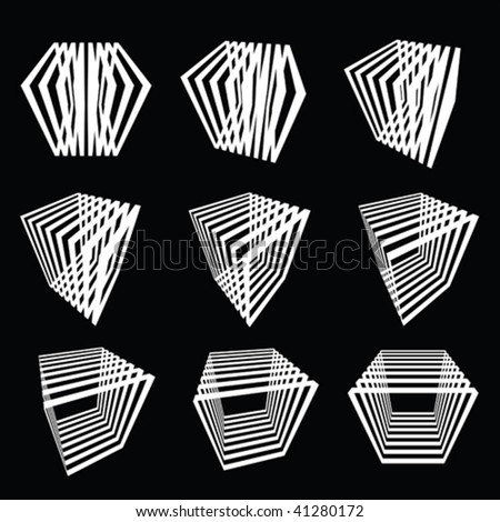collection of abstract cubes - stock vector