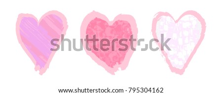 Collection of abstract hearts. Vector illustration isolated, Grunge hand drawn paint brush. Backgrounds, Frames for Valentine's Day.