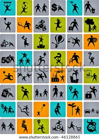 Collection of abstract human figures and icons - stock vector