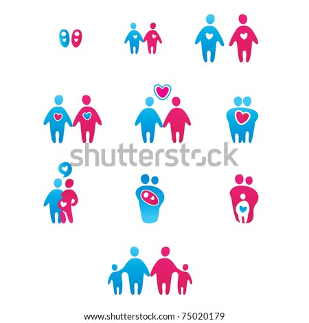 Collection of abstract icons - the boy-girl, man-woman, the development of relationships, family.