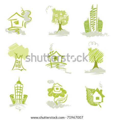 Collection of abstract images - homes - stock vector