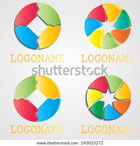 Collection of Abstract Logo Designs in Circle Shapes . Vector Illustration/