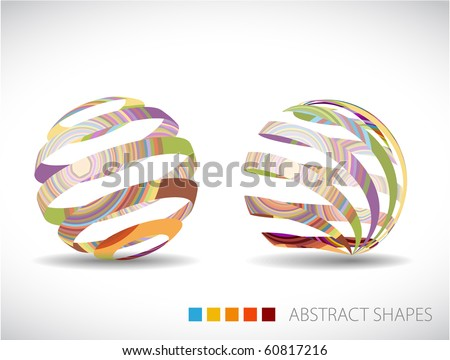 Collection of abstract spheres made from colorful stripes - stock vector