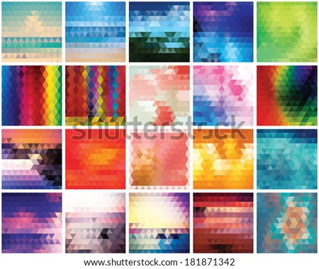 Collection of 20 abstract triangles backgrounds, pattern design, vector illustration - stock vector