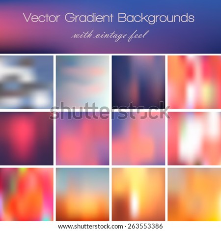 collection of 12 abstract vector gradient backgrounds with vintage feel. - stock vector