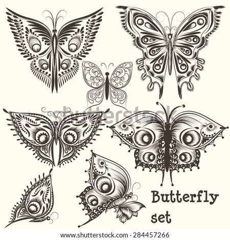Collection of abstract vector swirl butterflies for design.Engraved butterflies from filigree floral ornaments for use in patterns, wallpaper, fabric and other - stock vector