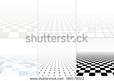 Collection of abstract white backgrounds with perspective. Tiled floor concept. - stock vector
