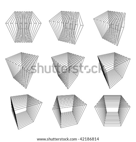 collection of abstract wire-frame cubes - stock vector