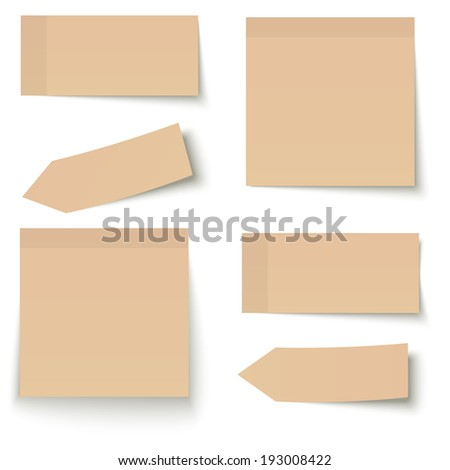 Collection of adhesive notes brown - stock vector
