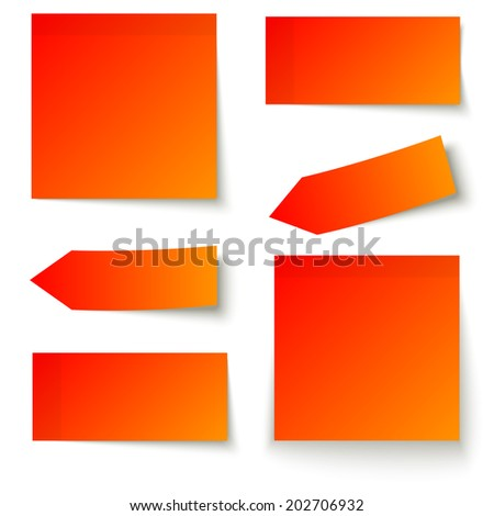 Collection of adhesive notes red - stock vector