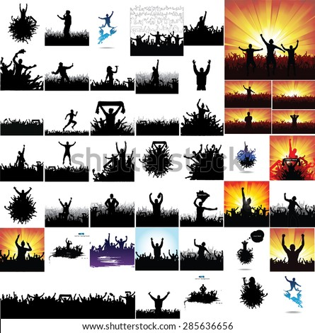 collection of advertising posters from people silhouettes. - stock vector