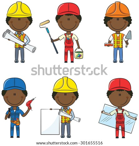 Collection of African-American construction workers: architect, painter, bricklayer, electrician, glazier - stock vector