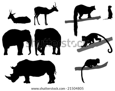 Collection of African animal silhouettes