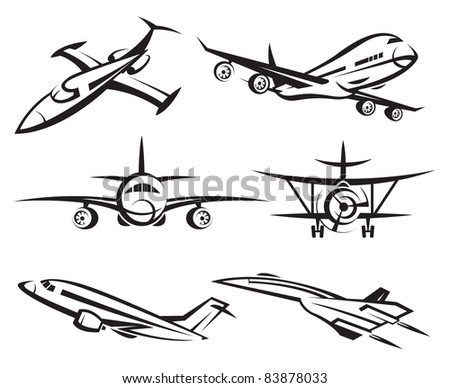 collection of aircraft - stock vector