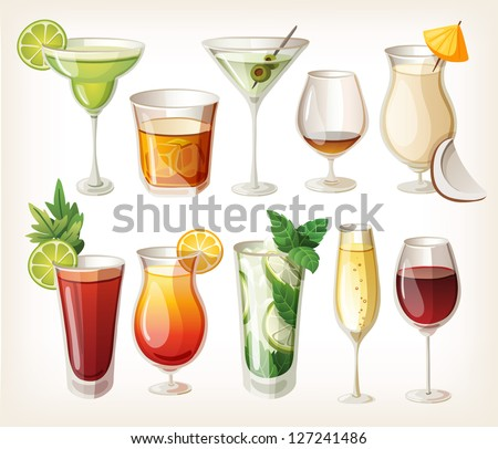 Collection of alcohol coctails and other drinks. - stock vector