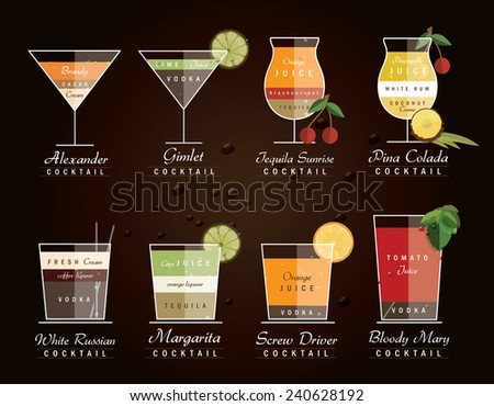 collection of alcoholic cocktail drinks with recipe measurements- vector illustration icons in trendy flat design style isolated on dark background - stock vector