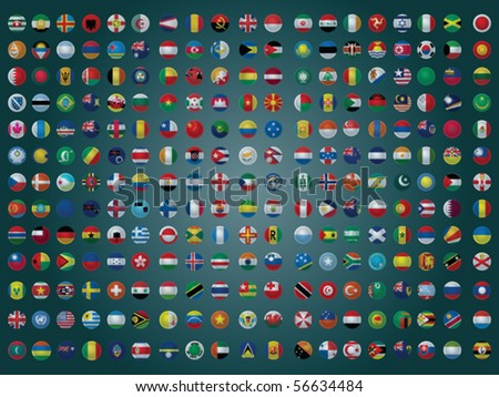 Collection of All The Flags of the Earth Vector Illustration - stock vector