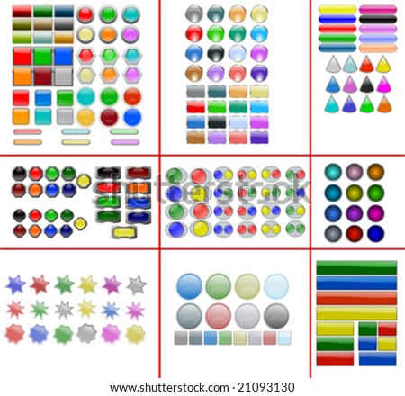Collection of all vector web buttons and shapes - stock vector