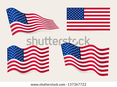 Collection of american flags moving in the wind in vector - stock vector