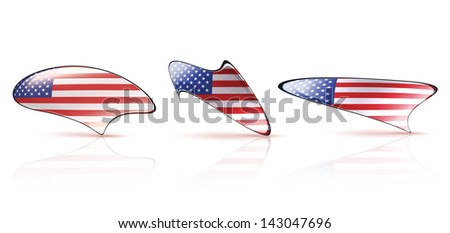 Collection of american speech bubbles on white isolated background. Vector design.