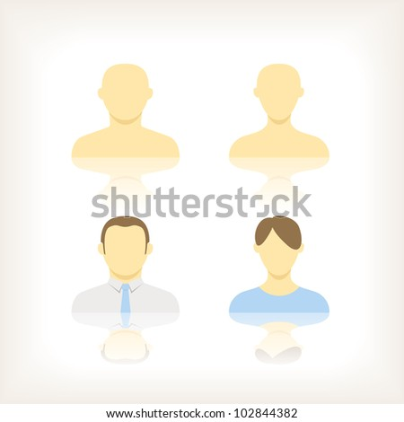 Collection of an account icons of men and women - stock vector