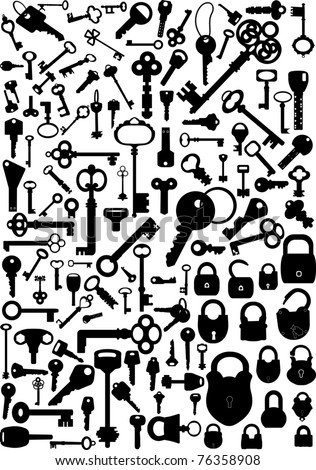 Collection of antique and modern keys and padlocks, vector illustration - stock vector