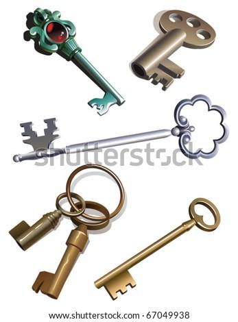 Collection of antique skeleton keys, gradient, vector illustration - stock vector