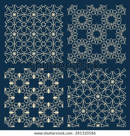 Collection of 4 Arabian patterns. Vector illustration - stock vector
