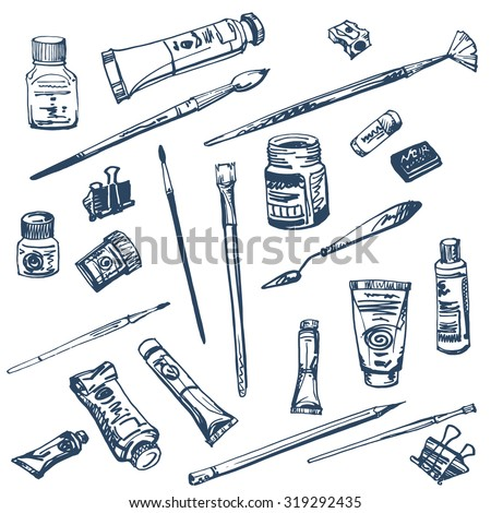 Collection of art supplies for watercolor and oil painting drawing pastels isolated on white