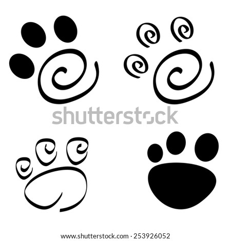 Collection of artistic dog /cat paw prints isolated on white background - stock vector
