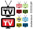 Collection of as seen on TV icon with television aerial - stock vector