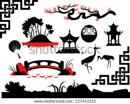 Collection of Asian Garden - stock vector