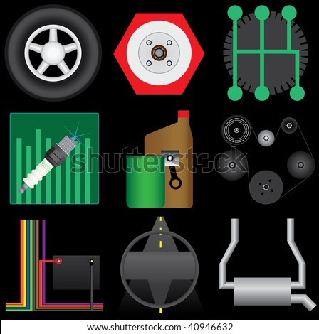 Collection of automotive icons selected for service categories. Includes tire, brakes,transmission,tuneup,oil change,belts,electrical,steering and alignment, and exhaust. - stock vector
