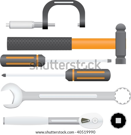 Collection of automotive service tools. Includes micrometer, combination wrench, ball pein hammer, screwdrivers, ratchet, and socket. - stock vector