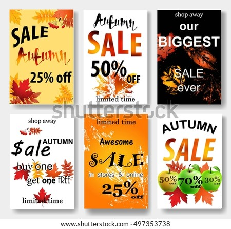 Collection Autumn Sale Other Typography Flyer Stock Vector