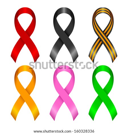 Collection of awareness ribbons. Ribbons of different color on a white background. - stock vector