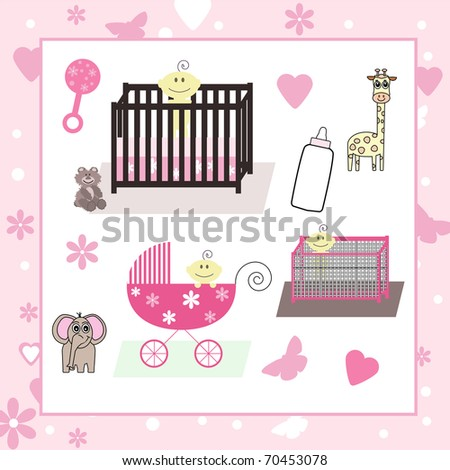 Collection  of Baby Girl Vectors - stock vector