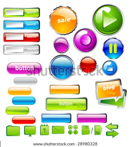 collection of badges and buttons - stock vector