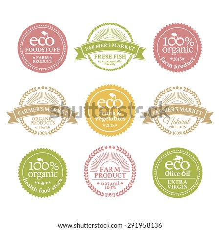 Collection of 6 badges in retro style for farmer's market with ecologically pure farm product - stock vector