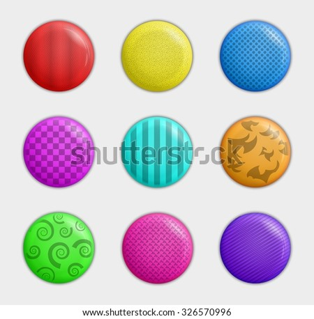 collection of badges with different color and pattern