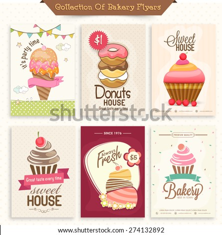 Collection of Bakery Flyers or Menu Cards decorated with sweet ice-cream, donuts and cupcakes. - stock vector