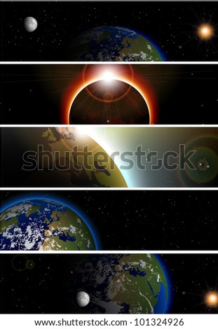 Collection of 5 banners for website   space theme - stock vector