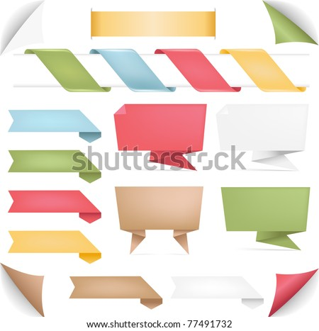 Collection Of Banners Of Origami And Ribbons, Isolated On White Background, Vector Illustration - stock vector