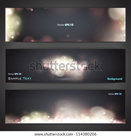 Collection of banners with abstract lights. Vector design. - stock vector