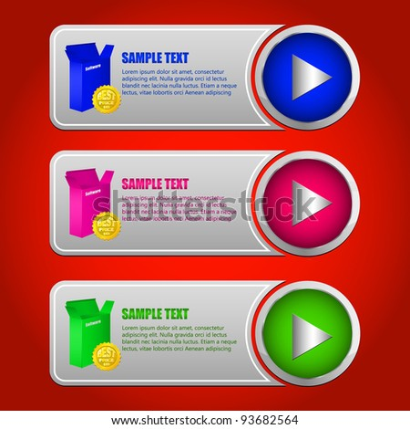 collection of banners with buttons.Colorful Software Banner Set - stock vector