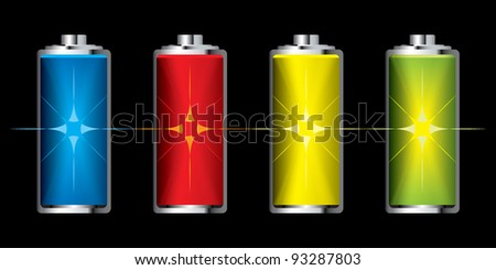 Collection of batteries with flash charge icon set - stock vector