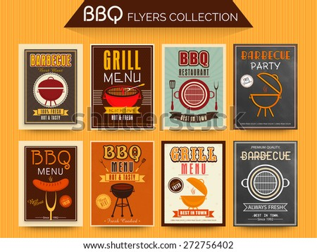 Collection of BBQ and Grill Menu Cards and Invitations in vintage and chalkboard style. - stock vector